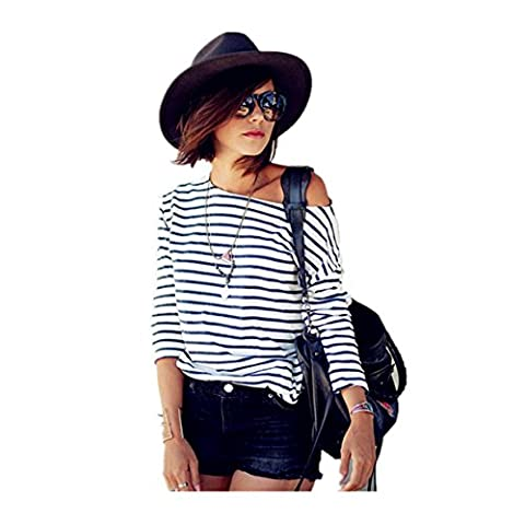 CYBERRY.M T-shirt Femme Fille Manches Longues Rayé Épaule Nu Casual Chemise Blouse Top (M, Blanc)