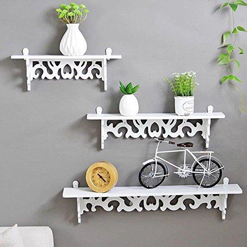 Homezone 3er Set weiß Shabby Chic Filigranarbeit Stil schwimmende Wand shelves.stylish Wandmontage Bücherregal dekorativ Display regale wand Regal Lagerregal