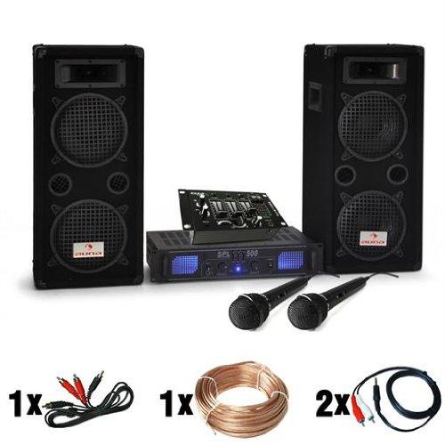 electronic star DJ Set DJ-25M Amplificatore Casse Mic Mixer (Sistema Completo PA, 1600W, Fino a 200 Persone, 2 Subwoofer da 20 cm)