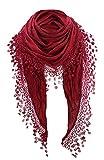 Pañuelo para cuello mujer de tres picos con pompones, muchos colores Rojo burdeos