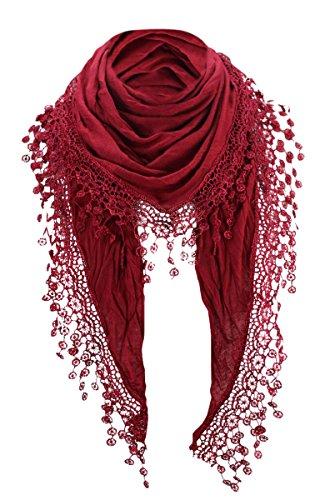 PiriModa PiriModa Damen Halstuch Tuch Dreiecktuch mit Bommeln Viele Farben (Bordeaux)