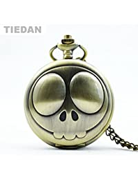 ShopyStore Tiedan Brand Smiling Face Pattern Retro Quartz Pocket Watches With Chain Necklace Antiq