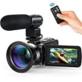 Videocamera Andoer videocamere digitale full HD 16X Zoom digitale schermo LCD 3.0 24MP Visione notturna Scarpa calda con Obiettivo grandangolare 0.39X Microfono standard