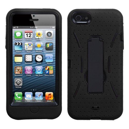Schutzhülle für Apple iPhone 5 (strapazierfähig, mit Standfunktion, für Sprint, Verizon, AT&T Kabellos) Schwarz