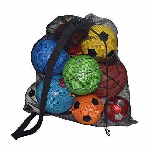 forepin Strandspielzeug Tasche Aufbewahrung Tasche Netz Netzbeutel für Fußball Volleyball Handball Basketball Softball Extra Große (Bälle Nicht Inklusive) - Schwarz