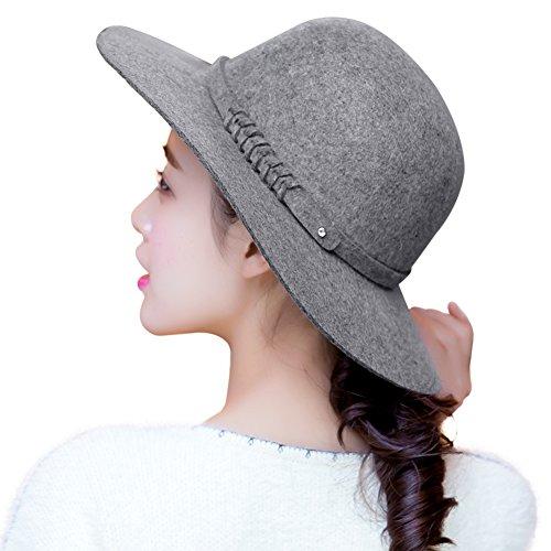 SIGGI Wolle grauer Filzhut Reto Kirche Hüte für Damen Winter bereit Krempe verschiedene Farben (Kirche Hat Krempe)