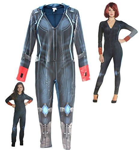 Nihiug Kinder Erwachsene Avenger Union Black Witwe Kostüm American Captain Kostüm Prank Miss Fashion Secret Segen (Witwe Schwarzen Kostüme Der)