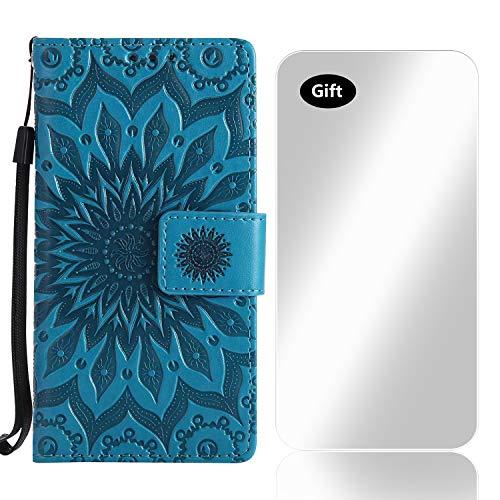iPhone 6 / 6s Hülle, Bear Village® Leder PU Cover Magnet Filp Brieftasche Schutzhülle mit Kostenlos Schutzfilm aus Gehärtetem Glas für Apple iPhone 6 / iPhone 6s (#6 Blau)