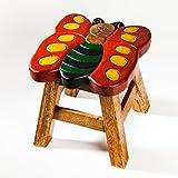 Robuster Kinderhocker/Kinderstuhl massiv aus Holz mit Tiermotiv Schmetterling, 25 cm Sitzhöhe