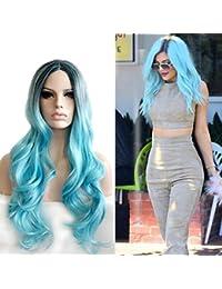 TOUFA Pelucas de Mujer, Juegos de rol de Fiesta, Pelucas Azules de la Personalidad