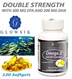 Glowsik Omega 3 Fish Oil (120 capsules) 1000 mg Double Strength With Epa 300 mg and Dha 200 mg - 120 softgels