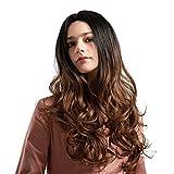 ODJOY-FAN Damen Färben Mittelpunkt Langes Lockiges Perücken Synthetik Lila Blau Lange Perücken Zum Frau Glueless Wellig Cosplay Haar Haarteile 22 Zoll(Braun,1 PC)