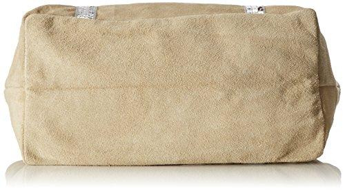 CTM Borsa a Mano da Donna in vera pelle morbida scamosciata made in Italy - 43x34x18 Cm Beige