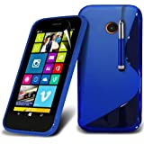 (Blau) Nokia Lumia 630 elegante S-line Hydro Wave Gel Skin Case Cover, Aus- und einfahrbarem Touch Screen Pen & Screen Protector von *Aventus *