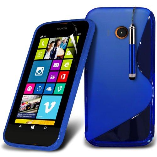 ( Orange ) Nokia Lumia 630 Hülle Abdeckung Cover Case Premium Fitted schutzhülle Tasche PU-Leder-Schlag mit 3 Kredit- / Bank-Karten-Slot-Kasten-Haut-Abdeckung mit LCD-Display Schutzfolie, Poliertuch u La ligne de S + Pen (Bleu)