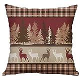Trisee Throw Pillow Case para Navidad, Fundas de Almohada de Lino de Moda Vintage Impresas de Navidad, Decoración para Hogar Sofá Cama Sala de Estar Coche 45cmx45cm