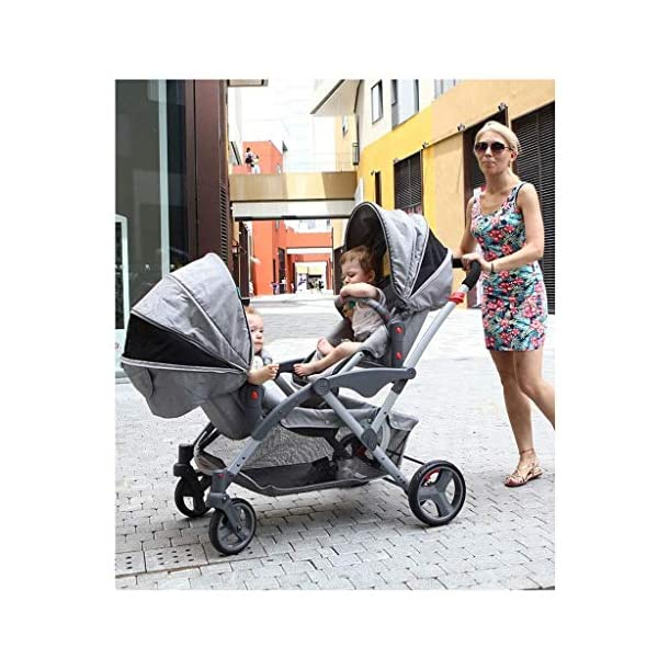 HZC Double Baby Stroller, Portable Folding Infant Pushchair with 5-Point Safety Harness, for Newborn and Toddler (Color : Gray) HZC Suitable for baby strollers from birth to 25 kg, made of high-quality aluminum alloy, each baby stroller is pressure tested to provide safety for every baby. Lightweight and compact Travel System ideal for everyday use or travel. One-hand fold mechanism lets you easily fold the pushchair. 8