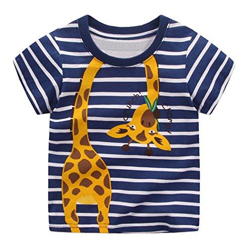 Tarkis Kinder T-shirt Baumwolle Streifen Feuer Cartoon Auto Muster Jungen Mädchen Kurzarm Oberteil Pullover Größe (116, Blaue Giraffe)