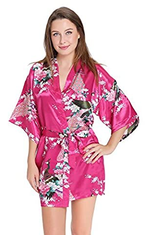 Aibrou Womens Bridesmaid Robes Short Peacock Blossoms Silk Stain Kimono