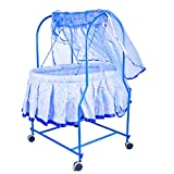 #7: Baybee Nebula Cradle with Mosquito Net | Stopper and Rotating Wheel, Safety Grip Chain | Lightweight and Transportable - Blue