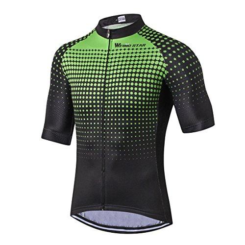 Radfahren Jersey Männer Bike Jersey Rennrad Sommer Berg MTB Fahrrad Kleidung Kurzarm T-Shirts Outdoor Sports Top atmungsaktiv Grün Größe XXL -