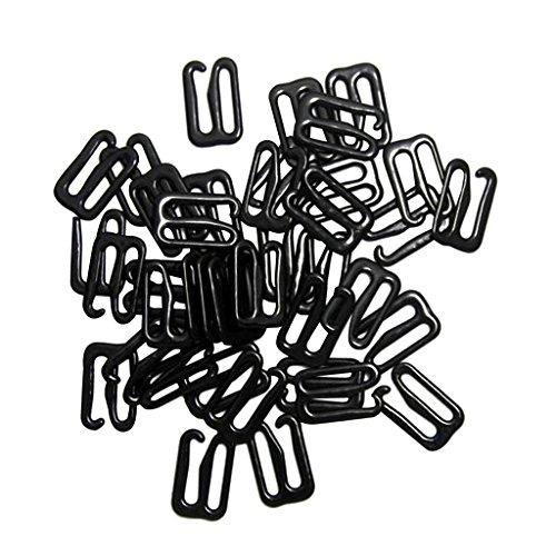 MagiDeal 9 Förmigen Dessous Einstellbar Nähen BH Ringe Schnallen 14mm 100pcs Silber Dessous Einstellbar Nähen BH Ringe Schnallen - Black, 29mmx25mm Hook