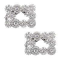 ElegantPark DH Square Decorative Shoe Clips Sparkling Rhinestones Wedding Evening Party Shoe Decorations Silver 2 Pcs