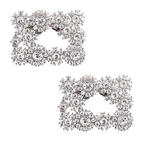 Elegantpark DH Quadrat Strass Brosche Strass Geschenk Flache Pumps Hochzeit Party Brautschuhe Abendschuhe Schuhe Dekoration Accessories Schuhclips 2 Stück Silber