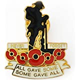 NEW RED POPPY SOLDIER LAPEL ENAMEL BADGE UK all gave some gave all WW1 CENTENARY Never Forget Remembrance Day UK SELLER