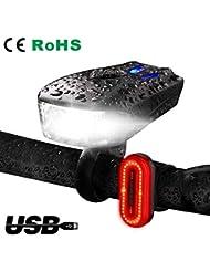 MEMBOO Luz Delantera Bicicleta,Luces Delantera y Trasera LED Recargable USB,Super Brillante Impermeable con 6 Modalidades para Bicicletas Delantera de Montaña ángulo Haz Ancho Seguridad para la Noche