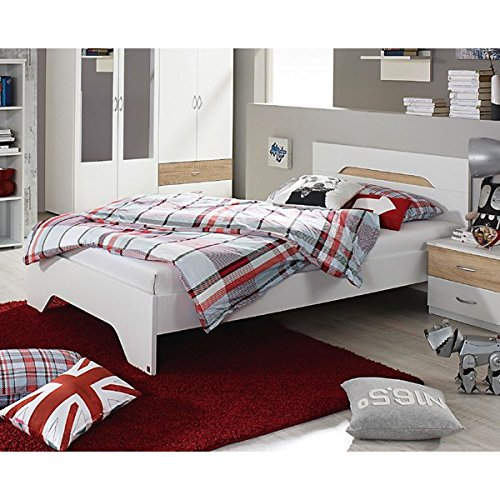 Jugendbett 100*200 cm weiß / sonoma Eiche grau Jugendliege Kinderbett Bettliege Bett Bettgestell Gästezimmer Jugendzimmer Kinderzimmer -