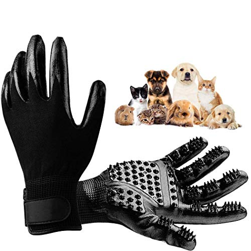 Xixini Pet Grooming Gloves Pet Haarentfernung Sanfte Enthaarungsbürste Massage-Tool mit Verstellbarer Handschlaufe für Hunde mit langem und kurzem Haar, Katzen, Pferd-1 Paar