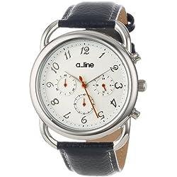 a_line Women's 80012-02-BU Maya Chronograph Silver Dial Dark Blue Leather Watch