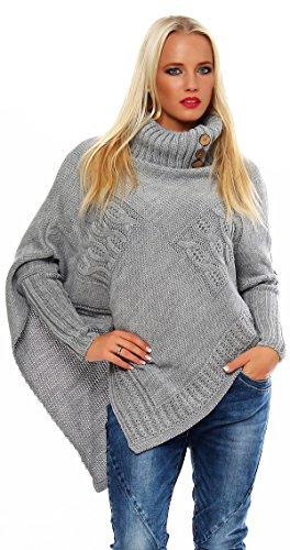 Mississhop Poncho Strick Sweatshirt Pullover Umhang Überwurf Einheitsgröße 36 38 40 S M L 11 Farben, Grau, S/M/L 36/38/40 - Rollkragen-poncho