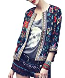 Women's 3/4 Sleeve Ethnic Cardigan Printed Flyaway Jacket Coat (M, Style 02)