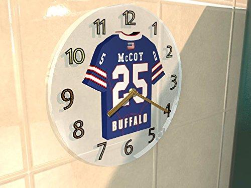 NFL - Horloge murale avec T-shirt incorporé – Personnalisation gratuite: n'importe quel nom, numéro, équipe!! (Buffalo Bills)