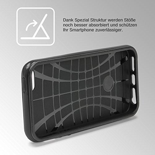 Étui iPhone 7 Hybrid Case, Urcover Housse de Protection Apple iPhone 7 Coque Téléphone [Bumper Bleu] Armor Case Look Carbone Anti-choc Noir