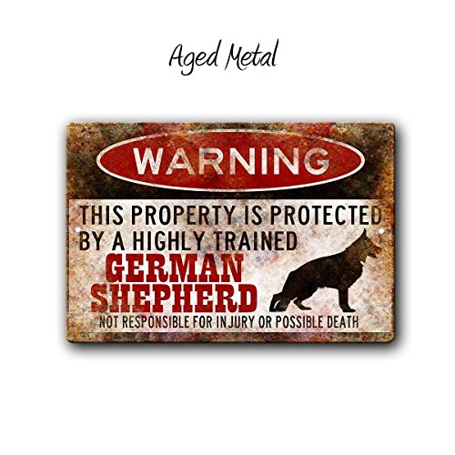 C-US-lmf379581 German Shepherd Sign Funny Metal Signs Dog Warning Sign Shepherd Warning Sign Funny Dog Sign Warning Sign GSD Gift Shepherd Gift