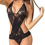 Sansee Damen Dessous Set Frauen Sexy Lace Unterwäsche Teddy Features Tiefer Wimpern und Snaps Crotch Lingerie (Schwarz, Freie Größe)