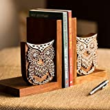 #5: ExclusiveLane Hand Engraved Owl Sheesham Wood Book End (27.7 cm 12.2 cm x 17.8 cm, Brown)