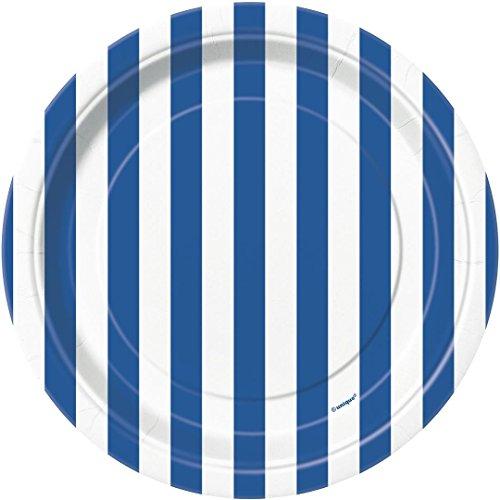 Unique Party 38014 - Assiettes en Carton au Motif Rayé Bleu Roi de 18 cm, Paquet de 8