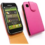 FLASH SUPERSTORE SAMSUNG I9000 GALAXY S PREMIUM PU LEATHER FLIP CASE/COVER/POUCH PINK AND LCD SCREEN PROTECTOR
