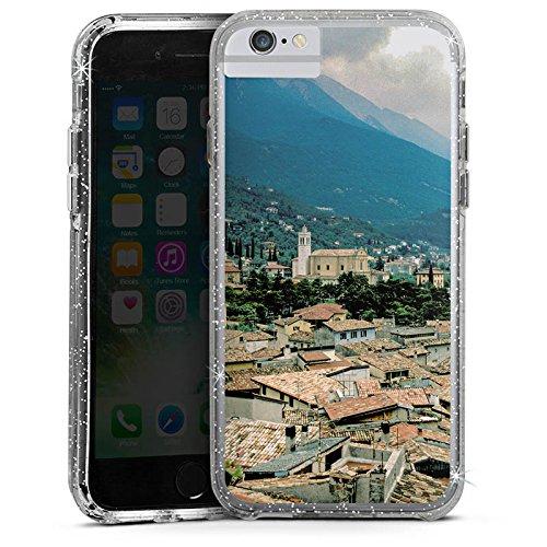 Apple iPhone X Bumper Hülle Bumper Case Glitzer Hülle Stadtpanorama Stadt Berge Bumper Case Glitzer silber