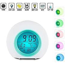 LED Despertador Reloj Repetición Activada por Luz Snooze Sensor de Luz Tiempo Fecha Temperatura Cambios Coloridos Del Color(azul)