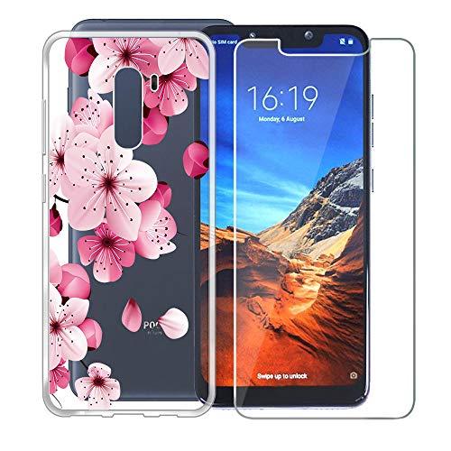 Custodia per Xiaomi Pocophone F1 ,DYSu Fiore rosa Trasparente TPU+ ( Vetro Temperato Film Protection Pellicola )Silicone Morbido Coperchio Protettivo...