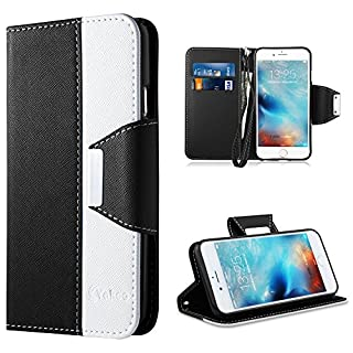 Vakoo iPhone 6 Hülle,iPhone 6S Hülle, Handy Schutzhülle für Apple iPhone 6 / 6S Handyhülle Leder Tasche Flip Case Cover (Schwarz Weiß) (B00VM3D0AG) | Amazon price tracker / tracking, Amazon price history charts, Amazon price watches, Amazon price drop alerts
