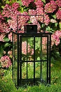 Noire Grande lanterne stable H: 60cm photophore Clapier Lanterne Métal Lanterne