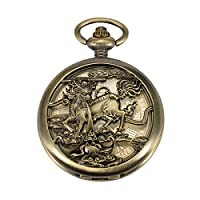 ManChDa® Vintage Automatic Mechanical Pocket Watch Chinese Unicorn Qilin Pattern Hunter Bronze Hollow Case for Men Women with Chain + Gift Box