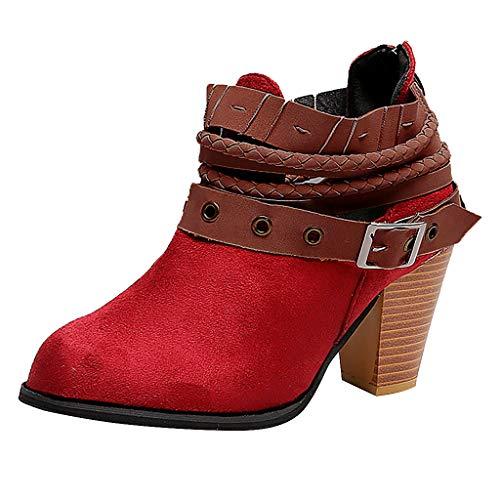 Vovotrade Stivali per Donne,Autunno Inverno 2019 da Donna Moda Scarpe Stivaletti alla Caviglia con Cerniera sul Tallone con Fibbia Rivetto