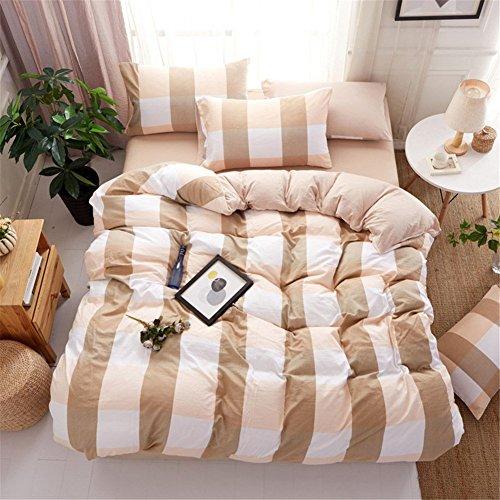 DACHUI Gewaschener Baumwolle Bettwäsche set Frühling Sommer weichen Atmungsaktiv Einfache Gitter gestreifte Home Textile Collection, braunes Gitter (Braune Tröster)
